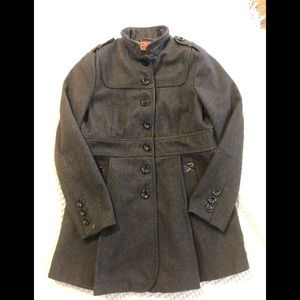 Steve Madden Wool Blend Charcoal Military Coat L